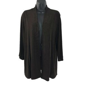 Chico's Travelers Size 3 Open Jacket Brown Slinky